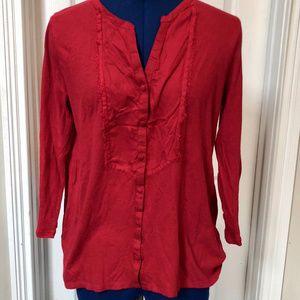 Lucky Brand Womens Red 3/4th Sleeve Blouse - MED
